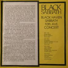 BLACK SABBATH - BLACK HEAVEN - SABBATH 10TH AVE CONCERT 2LP