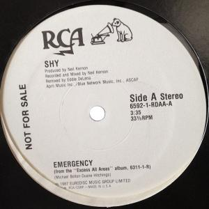 "SHY - EMERGENCY (PROMO FROM THE ""EXCESS ALL AREAS"" ALBUM) 12"" LP"